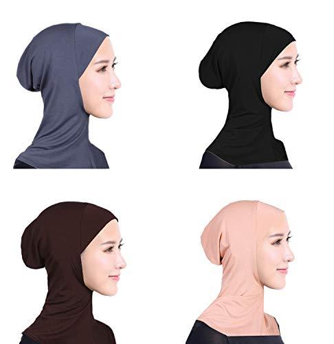 Ksweet 4 X Pañuelo Sombrero Mujeres Musulmanas Hijab Deportes y aire libre Bufanda de Cuello Pañuelos de Cuello Vestir Hueso Bajo Scarf (Black+Grey+Light brown+KQ)