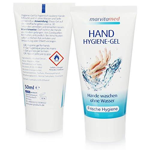 marvitamed 2X Hygiene Handgel in der Tube - Hand Hygiene-Gel für Mobile Handreinigung ohne Wasser für unterwegs - 50 ml je Tube