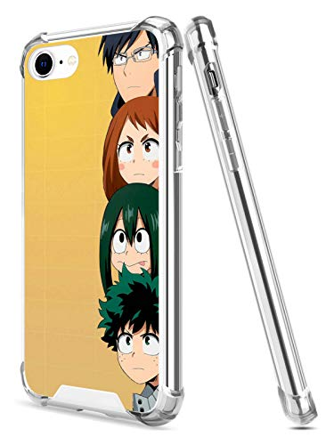 Anime Manga Character Clear Case for iPhone SE 2020 iPhone 7 iPhone 8 4.7-Inch Shockproof Anti-FAL Hard PC + TPU Bumper Protective (Cute-My-Hero-Academia)