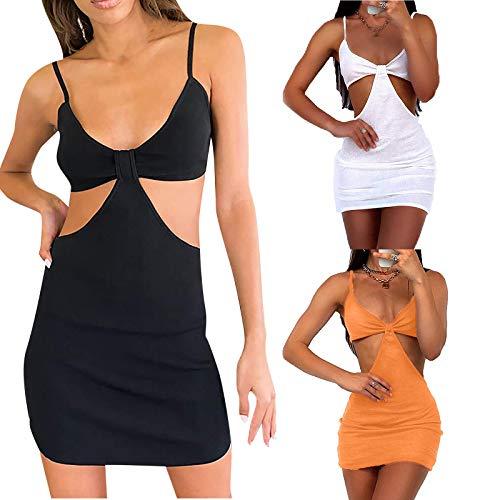 Sling - Traje de dos piezas, sexy, sin mangas, minivestido, vestido de verano, para fiestas y playa caqui S