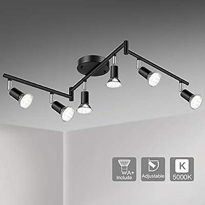 Unicozin LED 6 Light Track Lighting Kit, Black 6 Way Ceiling Spot Lighting, Flexibly Rotatable Light Head, Track Light Included 6 x LED GU10 Bulb (4W, Daylight White 5000K, 400LM)