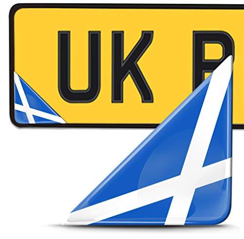 Biomar Labs 2 x 3D Pegatina Adhesivos Resinados para Placa de Matriculación Personalizadas Bandera de Escocia para Coche Moto Remolque F 136