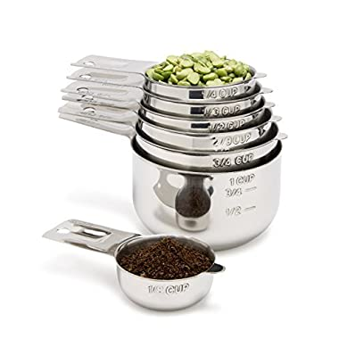 Simply Gourmet Measuring Cups 7 Piece with 1/8 Cup Coffee Scoop Stainless Steel Measuring Cup Set. Liquid Measuring Cup or Dry Measuring Cup. Stainless Measuring Cups with Nesting Cups Feature