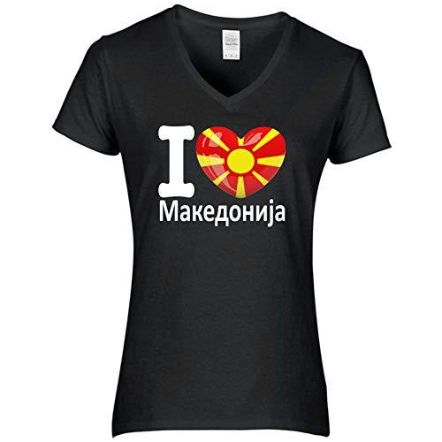 FanShirts4u Damen T-Shirt - I Love MAZEDONIEN Macedonia - WM EM Trikot Liebe Herz Heart (S, MAZEDONIEN mazedonisch/schwarz)