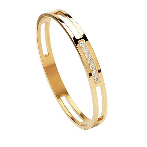 n\c Brazalete de Color Dorado/Plateado de 6/8 mm, Acero Inoxidable Hueco con Pulseras de Diamantes de imitación