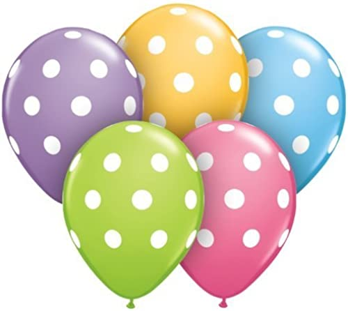Assorted Polka Dot Balloons Package of 50 by Qualatex