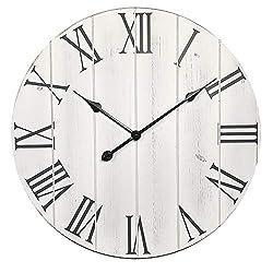 Zisu 24 Inch Large Decorative Wall Clock – Farmhouse Home Decor - Oversize Shiplap Roman Numerals Silent Clock - Big Wall Clocks for Indoor, Living Room, Bedroom, Kitchen, Dining Room Decor (White)