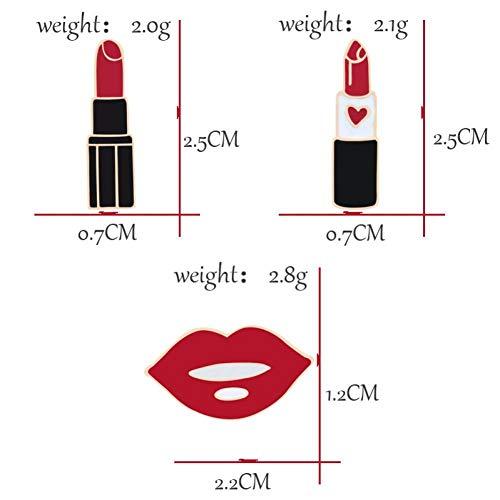 Eerding Broche / 3 stuks/set modieuze charm lippenstift emaille pin mooie lip broche jassen accessoires badge meisjes sieraden broches voor geschenken