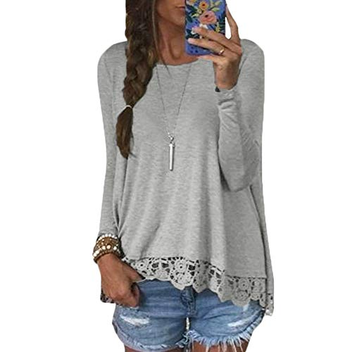 Romacci Damen Casual T-Shirt O Hals Langarm Spitze Häkeln Splice Unregelmäßiger Saum Plus Größe Top