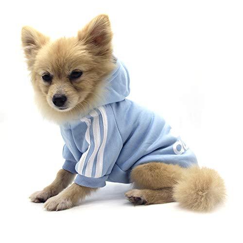 QiCheng&LYS Adidog Dog Hoodie Ropa, Mascota Cachorro Gato algodón Lindo cálido Sudadera con Capucha suéter (S, Azul)
