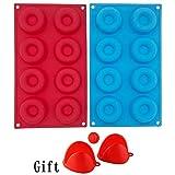KJLM Stampo per Ciambelle e leciti, Stampo per teglie in Silicone a 16 cavità, Stampo per Ciambelle in Silicone per Ciambelle (Rosso + Blu)