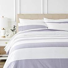 Amazon Basics - Juego de cama de franela con funda nórdica - 230 x 220 cm/50 x 80 cm x 2, Rayas grises