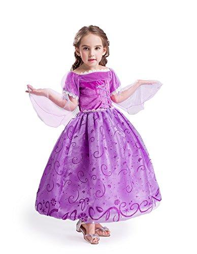 ELSA & ANNA® Mädchen Prinzessin Kleid Verrücktes Kleid Partei Kostüm Outfit DE-NW12-RAP (6-7 Jahre - Size Code 40, NW12-RAP)