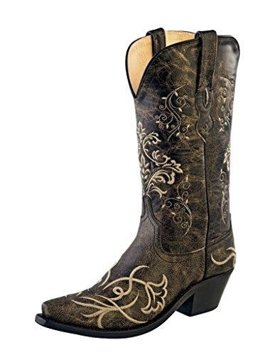 Old West Cowboy Boots Womens Goodyear 6 B Vintage Charcoal LF1587