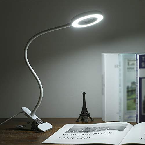 Lixada Lampada da Tavolo con Pinza con Lente di Ingrandimento con Ricarica Diretta USB Lampada da Scrivania per Lavoro Ravvicinato LED Luminosi Luce con Lente d'Ingrandimento per Compiti di Lettura