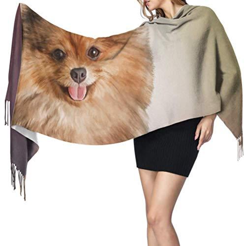 Tekening Hond Duitse Pommeren Portret Lichtgewicht Cashmere Sjaal Zachte Sjaal Cashmere Grote Wikkel Sjaal 196x68 cm Grote Zachte Pashmina Extra Warm