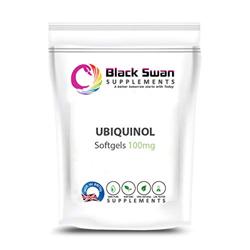 Black Swan Ubiquinol Softgels - with high Anti-oxidant Power Support Healthy Heart Skin Health migraines 100mg (120 Softgels)
