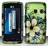 LG Banter Touch / Rumor Touch LN510 (Sprint/MetroPCS) Hawaiian Flowers Design Snap On Hard Case Protector Cover + Free Neck Strap + Free Wrist Band