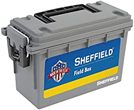Sheffield 12628 Field Box, Pistol, Rifle, or Shotgun Ammo Storage Box, Tamper-Proof Locking Ammo Can, Water Resistant, Made in The U.S.A, Stackable, Gray