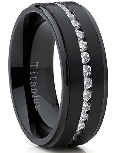 Metal Masters Co. Black Titanium Men's Eternity Wedding Band Ring with Cubic Zirconia CZ, Comfort Fit 8mm SZ 10.5