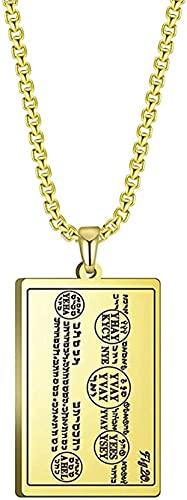 LBBYLFFF Halskette Glück und Glück Amulett Halskette Elfter Geist Mond Tisch Bücher von Moses Edelstahl Schmuck für Männer Halskette
