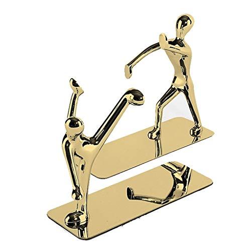 Sujetalibros Bookend Bookend Bookend de acero inoxidable Libro de escritorio de metal Termina for estantes de trabajo pesado Toppers de libros de trabajo Art Soportes de Bookend Decorative Extremos de
