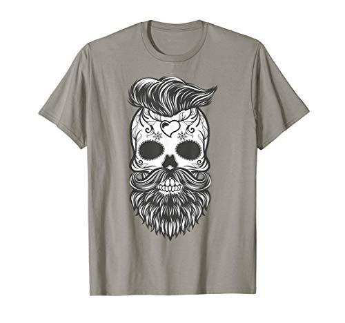 Tee shirt tête de mort homme barbu halloween et toussaint T-Shirt