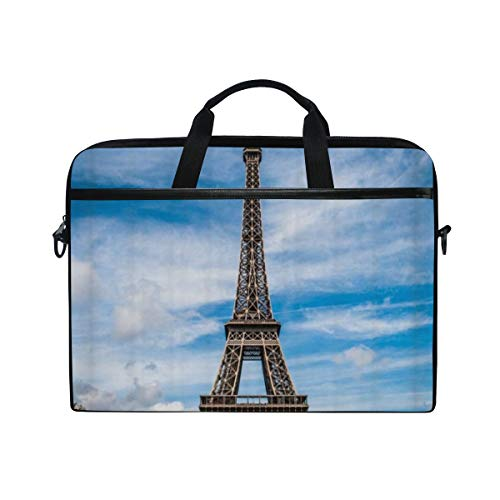 FOURFOOL 15-15.6 inch Laptop Bag,Eiffel Tower Romantic France Paris Landmark Building Nature Landscape,New Canvas Print Pattern Briefcase Laptop Shoulder Messenger Handbag Case Sleeve