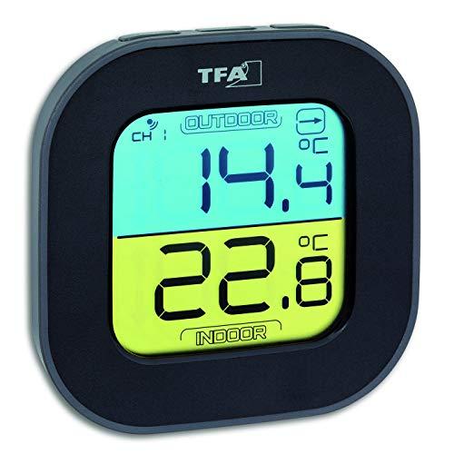TFA Dostmann Fun Thermometer mit Aussensensor Funk, innen/aussen, digital, Tendenzpfeilen, schwarz, L 88 x B 19 (44) x H 88 mm