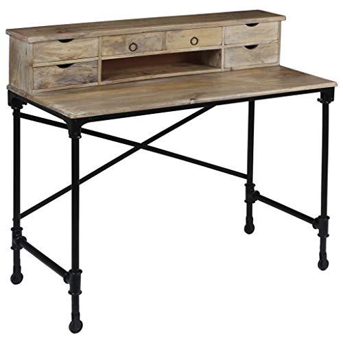vidaXL Schreibtisch Mangoholz Stahl Computertisch Bürotisch Arbeitstisch