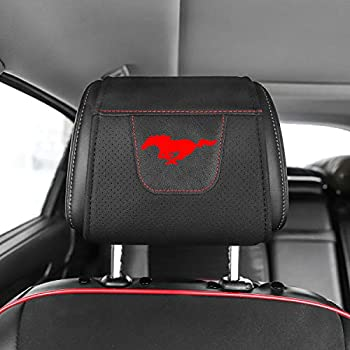 COOL KEYER 2PCS Car Seat Headrest Cover Car Seat Headrest Protection Cover Compatible for Mustang  Red