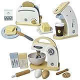 Meppi Haushaltsgeräte-Set Toaster / Kaffeemaschine / Mixer aus Holz für die Kinderküche / Spielküche
