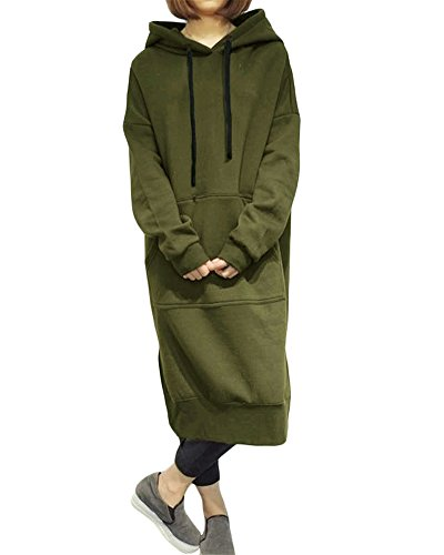 Romacci Damen Lose Lange Sweatshirt mit Kapuze Kleid Langarm Taschen Split Casual Warme Hoodies, Green, 5XL