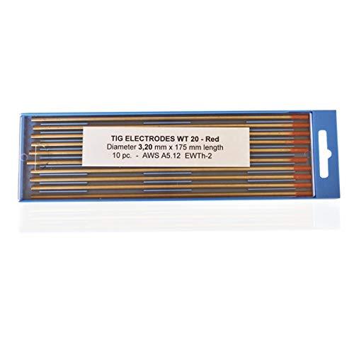Electrodos de tungsteno torneados rojo WT20 3,2 x 175 mm.
