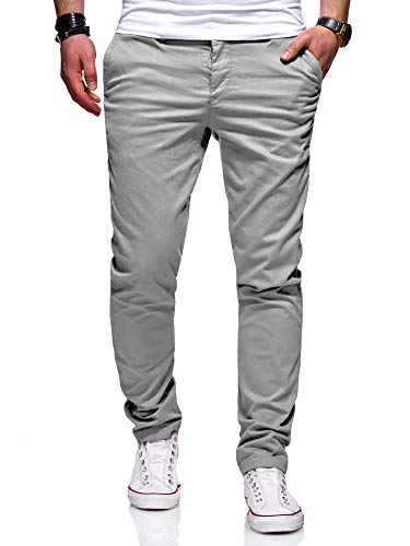 behype. Herren Basic Chino Jeans-Hose Stretch Regular Slim-Fit 80-0310,Hellgrau,30W / 32L