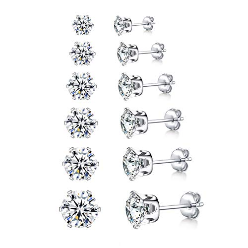 wynn's Silver Stud Earrings for Women, 6 Pairs Stainless Steel Stud Earrings Set, Titanium Steel Cubic Zirconia Stud Earrings Set, Hypoallergenic Small Sleeper Cartilage Studs, Size: 3, 4, 5, 6,7,8mm
