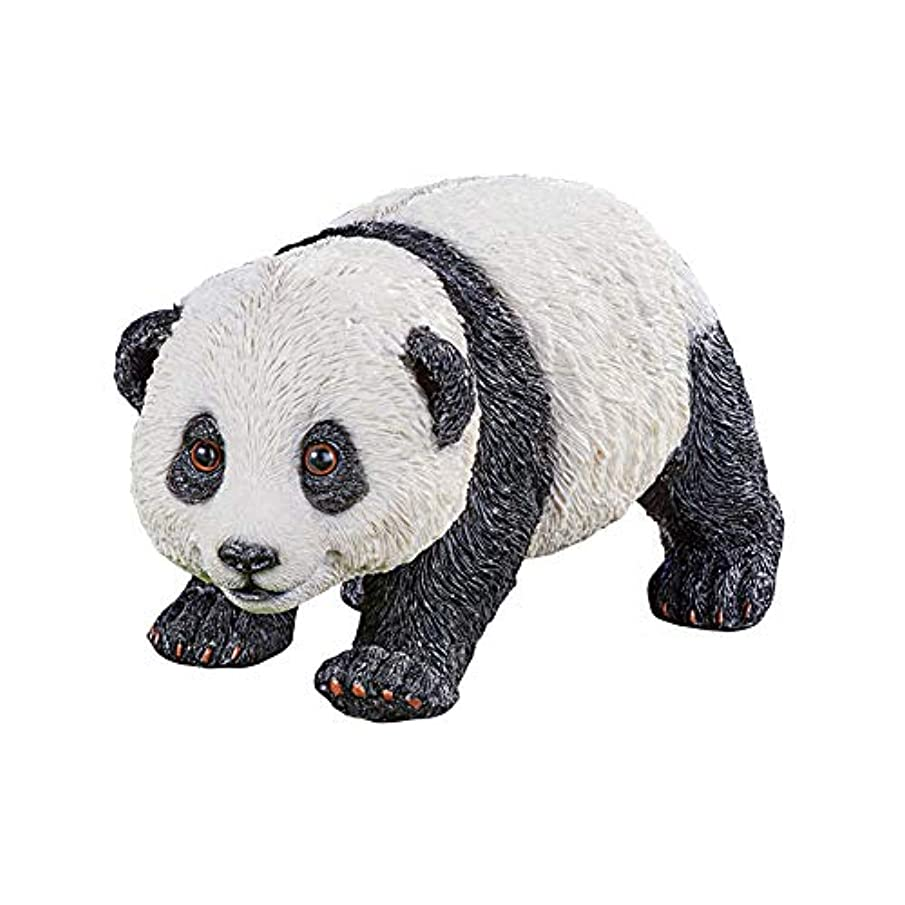 Collections Etc Black and White Panda Textured Yard Figurine with Textured Details - Whimsical Outdoor Décor