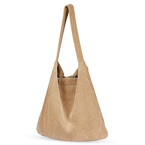 Bolsa de pana Etercycle con hombro de pana retro, gran capacidad, bolsos de hombro para mujer, Khaki, L,