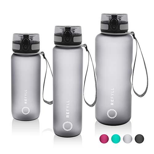 REFYLL Sport Trinkflasche mit Früchtebehälter I 'powerFYLL' Wasserflasche für deinen Lifestyle I BPA freie Sportflasche aus Tritan für Sport, Uni, Schule, Büro und Fitness (Grau, 650ml)