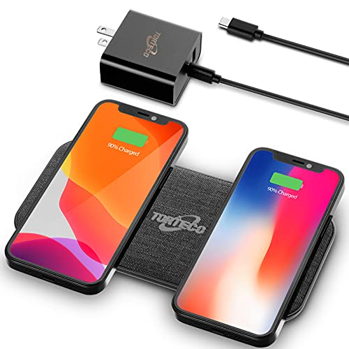 Wireless Dual Charger Torteco, 10w Fast Charging pad, Qi-Certified Compatible with iPhone, Samsung Phone, and Earbuds, with a 65W GaN QC 3.0 USB-C&A Adapter & a 3.28 ft Cable
