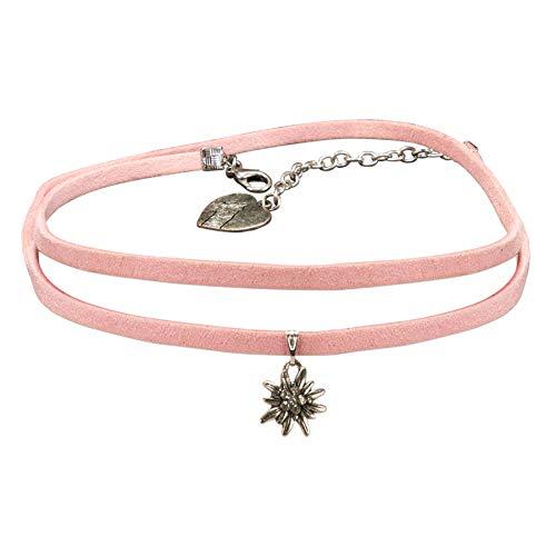 Alpenflüstern Trachten-Wickelband-Halskette Edelweiss - Damen-Trachtenschmuck Dirndlkette rosa-rosé DHK234