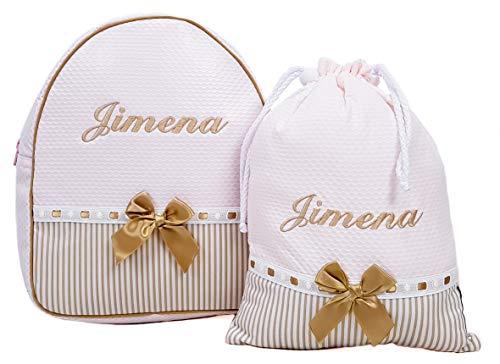 Conjunto guardería o Colegio: Mochila + Bolsa de merienda lenceras Personalizadas con Nombre en plastificado y Tela (Rosa/Camel)