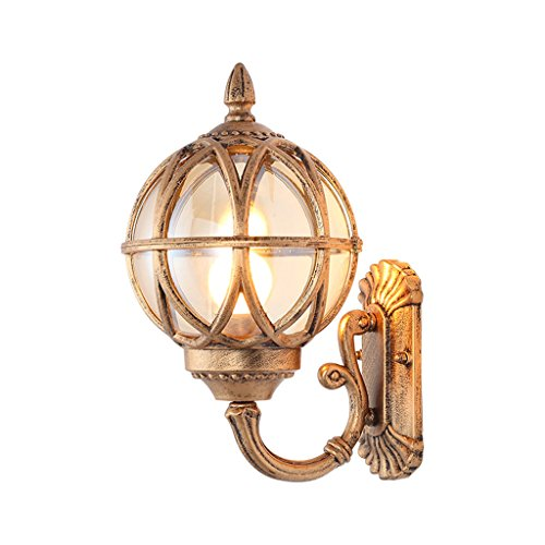 Auxiliary Lighting Bronze Waterdichte Wandlampen, Buiten Wandlampen Glazen Wandlampen Park Patio Spherical Decoration Wandlampen Single Head E27 Spotjes (Size : 21.5 * 38CM)