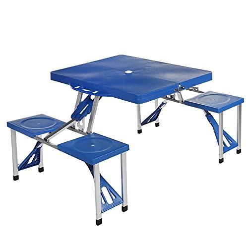 Heqianqian Mesa plegable al aire libre plegable maleta camping mesa y 4 taburetes silla conjunto al aire libre jardín picnic mesa picnic mesa