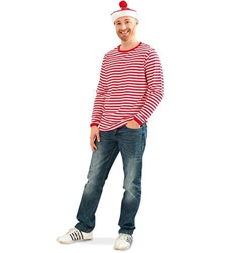KarnevalsTeufel Herrenkostüm Ringel-Shirt rot/weiß Langarm Karneval kombinierbar mit vielen Kostümen (Large)
