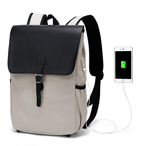 WindTook Damen Rucksack Laptop Vintage Daypack Backpack 15 Zoll Schulrucksack mit USB Kabel für Teenager Uni Arbeit Modisch Lässig Alltag Freizeit, 27 x 14 x 38 cm, Grau