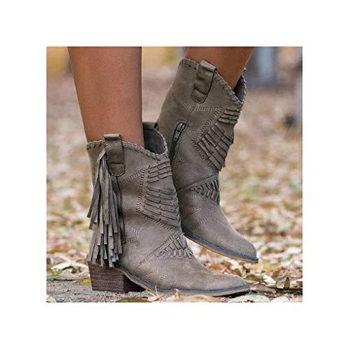 LXWS Mujer Cremallera Lateral Borla Tacones de Bloque Grueso Botines de Invierno para el Trabajo Caminar Senderismo Zapatos,Grey-43