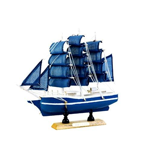 Modelo Náutico de Nave Barco De Vela de Madera Decoración de Hogar Oficina - Azul