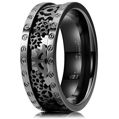 Three Keys Jewelry 8mm Fashion Black Gear Punk Spinny Nice Dad Polished Titanium Gunmetal Qualo Mens Promise Engagement Edgy EngMent Rings for Men Size 8
