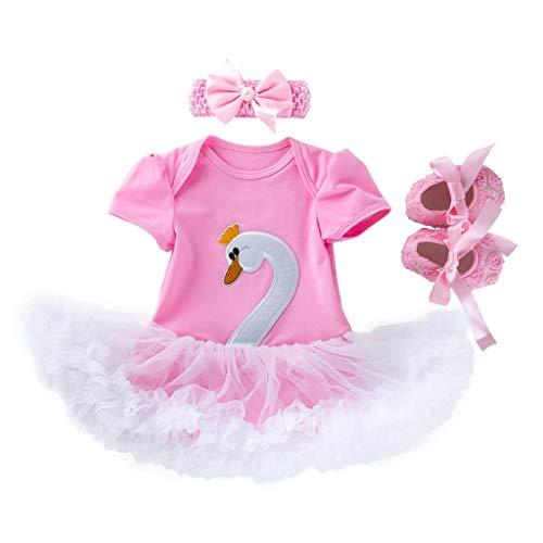 JUTOO (3-24M Vestido de Cisne de Dibujos Animados para bebé de Manga Corta Falda Vestido de Princesa + Banda de Pelo + Zapatos Conjunto de Tres Piezas(59,66,73,80)